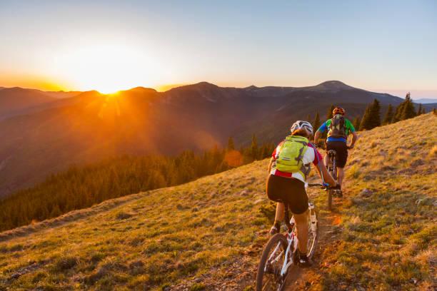 Cyclistes en train de parcourir la montagne l'été
